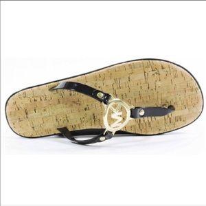 Michael Kors Black/Gold Flip Flops